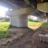 矢作川に架かる渡橋の橋脚